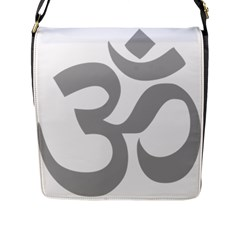 Hindu Om Symbol (light Gray) Flap Messenger Bag (l)  by abbeyz71