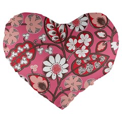 Pink Flower Pattern Large 19  Premium Flano Heart Shape Cushions by Nexatart