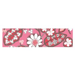 Pink Flower Pattern Satin Scarf (oblong)