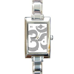 Hindu Om Symbol (light Gray) Rectangle Italian Charm Watch by abbeyz71