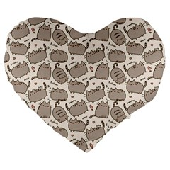 Pusheen Wallpaper Computer Everyday Cute Pusheen Large 19  Premium Heart Shape Cushions by Nexatart