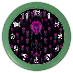 Wonderful Jungle Flowers In The Dark Color Wall Clocks by pepitasart