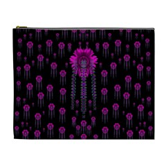 Wonderful Jungle Flowers In The Dark Cosmetic Bag (xl) by pepitasart