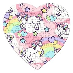 Unicorn Rainbow Jigsaw Puzzle (heart) by Nexatart