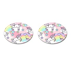 Unicorn Rainbow Cufflinks (oval)