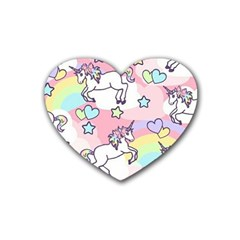 Unicorn Rainbow Rubber Coaster (heart)  by Nexatart