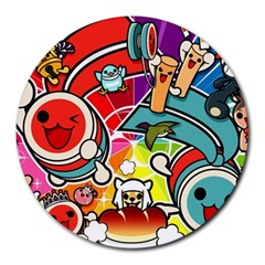 Cute Doodles Wallpaper Background Round Mousepads