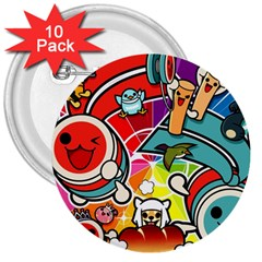 Cute Doodles Wallpaper Background 3  Buttons (10 Pack)