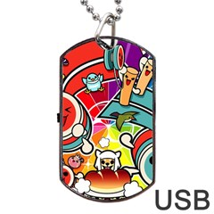 Cute Doodles Wallpaper Background Dog Tag Usb Flash (one Side) by Nexatart
