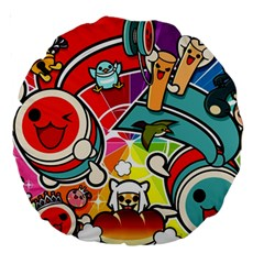 Cute Doodles Wallpaper Background Large 18  Premium Round Cushions by Nexatart