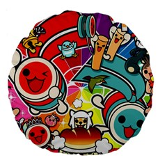 Cute Doodles Wallpaper Background Large 18  Premium Flano Round Cushions by Nexatart