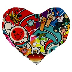 Cute Doodles Wallpaper Background Large 19  Premium Flano Heart Shape Cushions by Nexatart