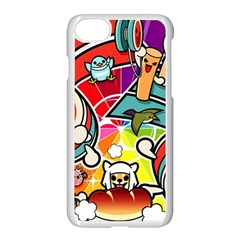 Cute Doodles Wallpaper Background Apple Iphone 7 Seamless Case (white)