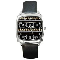Kawaii Pattern Square Metal Watch by Nexatart