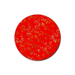 Golden Swrils Pattern Background Rubber Round Coaster (4 Pack)