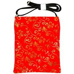 Golden Swrils Pattern Background Shoulder Sling Bags by Nexatart