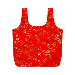 Golden Swrils Pattern Background Full Print Recycle Bags (m)