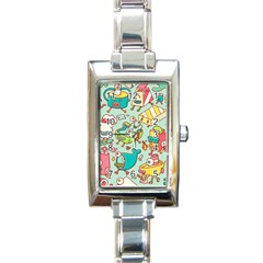Summer Up Pattern Rectangle Italian Charm Watch