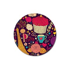 Cute Colorful Doodles Colorful Cute Doodle Paris Magnet 3  (round) by Nexatart