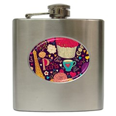 Cute Colorful Doodles Colorful Cute Doodle Paris Hip Flask (6 Oz)