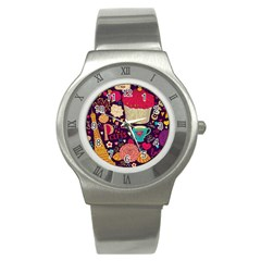 Cute Colorful Doodles Colorful Cute Doodle Paris Stainless Steel Watch by Nexatart