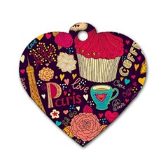 Cute Colorful Doodles Colorful Cute Doodle Paris Dog Tag Heart (two Sides)