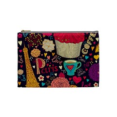 Cute Colorful Doodles Colorful Cute Doodle Paris Cosmetic Bag (medium)  by Nexatart