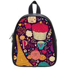 Cute Colorful Doodles Colorful Cute Doodle Paris School Bags (small)  by Nexatart