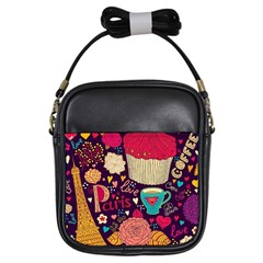 Cute Colorful Doodles Colorful Cute Doodle Paris Girls Sling Bags by Nexatart