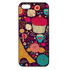 Cute Colorful Doodles Colorful Cute Doodle Paris Apple Iphone 5 Seamless Case (black) by Nexatart
