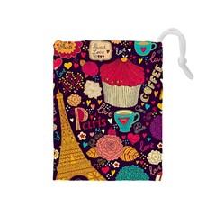 Cute Colorful Doodles Colorful Cute Doodle Paris Drawstring Pouches (medium)