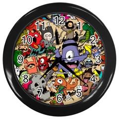 Hipster Wallpaper Pattern Wall Clocks (black)