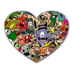 Hipster Wallpaper Pattern Heart Mousepads by Nexatart
