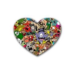 Hipster Wallpaper Pattern Rubber Coaster (heart)  by Nexatart