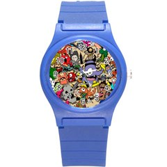 Hipster Wallpaper Pattern Round Plastic Sport Watch (s) by Nexatart