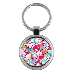 Cute Cartoon Pattern Key Chains (round)  by Nexatart