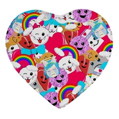 Cute Cartoon Pattern Heart Ornament (two Sides) by Nexatart