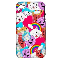 Cute Cartoon Pattern Apple Iphone 4/4s Hardshell Case (pc+silicone) by Nexatart