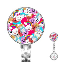 Cute Cartoon Pattern Stainless Steel Nurses Watch
