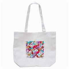 Cute Cartoon Pattern Tote Bag (white) by Nexatart