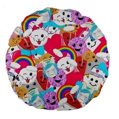 Cute Cartoon Pattern Large 18  Premium Flano Round Cushions
