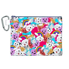 Cute Cartoon Pattern Canvas Cosmetic Bag (xl)