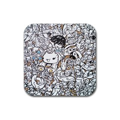Cute Doodles Rubber Square Coaster (4 Pack)  by Nexatart