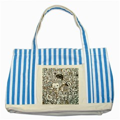 Cute Doodles Striped Blue Tote Bag