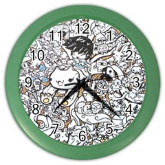 Cute Doodles Color Wall Clocks by Nexatart