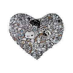 Cute Doodles Standard 16  Premium Heart Shape Cushions