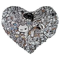 Cute Doodles Large 19  Premium Heart Shape Cushions