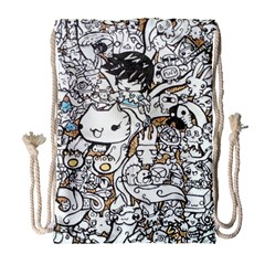 Cute Doodles Drawstring Bag (large) by Nexatart