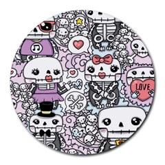 Kawaii Graffiti And Cute Doodles Round Mousepads by Nexatart