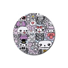 Kawaii Graffiti And Cute Doodles Rubber Round Coaster (4 Pack)